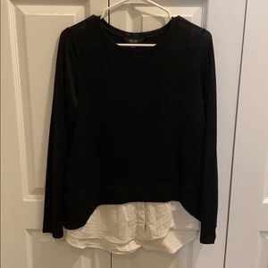Black crew neck with faux white button down bottom